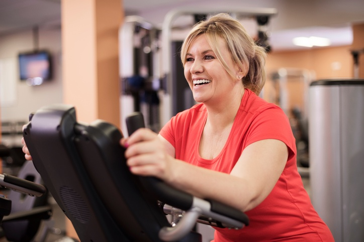 woman working out at a fitness center